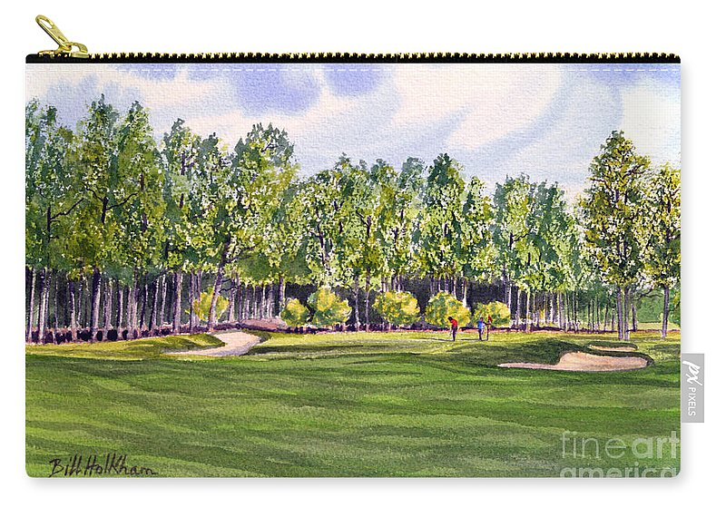 Golf Carry-all Pouch featuring the painting Pinehurst Golf Course 17th Hole by Bill Holkham