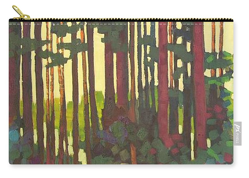 Landscape Carry-all Pouch featuring the painting Pines Of Nisqually by Mary McInnis