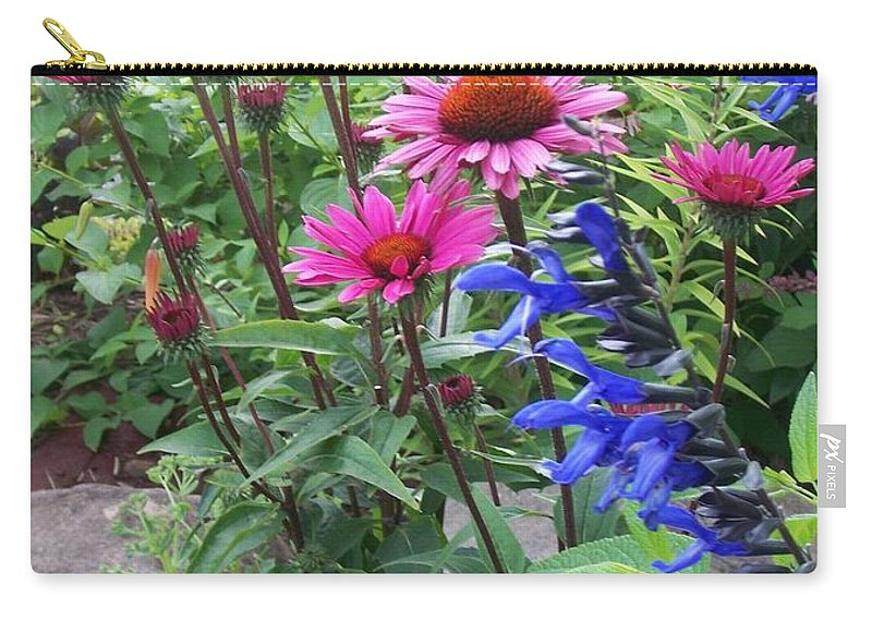 Flowers Carry-all Pouch featuring the photograph Pink All Over Plus Purple by Anita Burgermeister