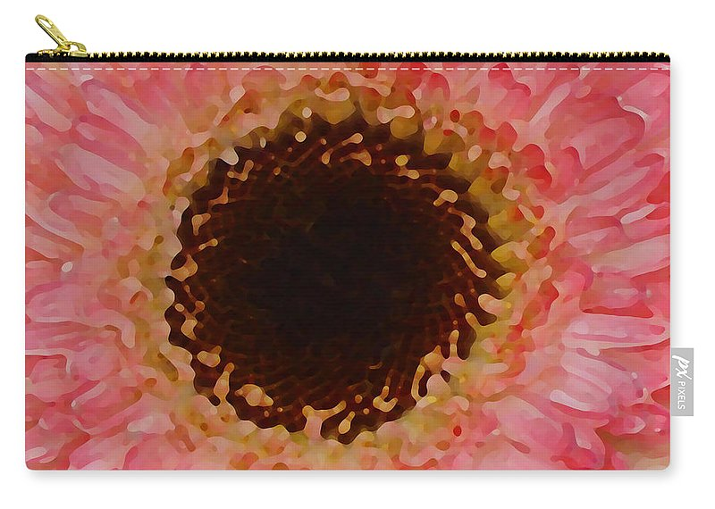 Daisy Carry-all Pouch featuring the painting Pink And Brown Gerber Center by Amy Vangsgard