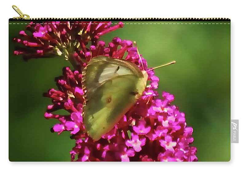 Moth Carry-all Pouch featuring the photograph Pink And Green by Lori Tambakis