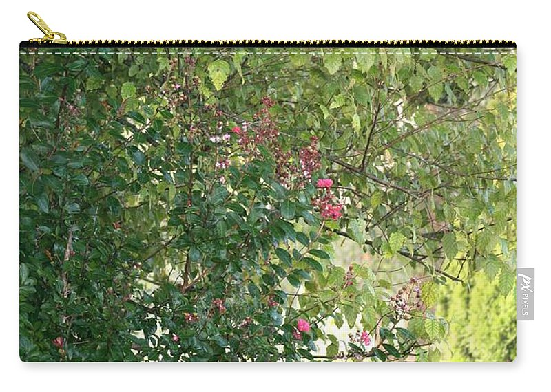 Path Carry-all Pouch featuring the photograph Pink And Green Path by Nadine Rippelmeyer