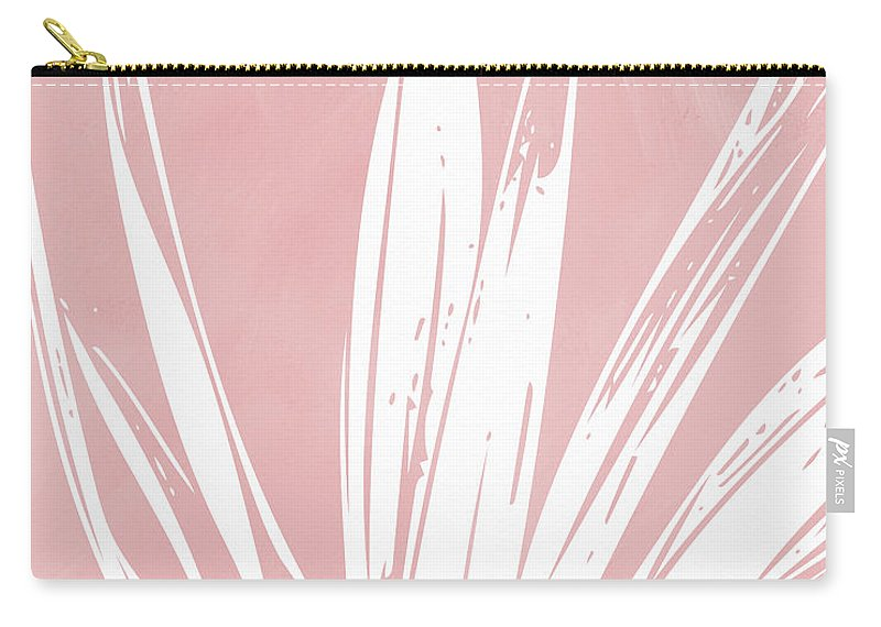 Leaf Carry-all Pouch featuring the mixed media Pink and White Tropical Leaf- Art by Linda Woods by Linda Woods