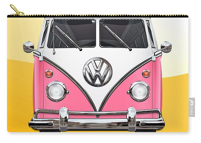 'volkswagen Type 2' Collection By Serge Averbukh Carry-all Pouch featuring the photograph Pink and White Volkswagen T 1 Samba Bus on Yellow by Serge Averbukh