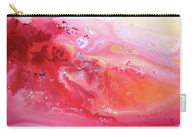 Abstract Fluid Carry-all Pouch featuring the painting Pink Archipelago by Carlo Toma