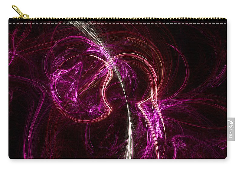 Fractal Carry-all Pouch featuring the digital art Pink Blume by Susan Kinney