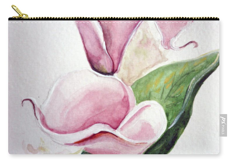 Botanical Painting Pink Paintings Calla Paintings Lily Paintings Flower Paintings Floral Paintings Flora Pink Flower Lily Carry-all Pouch featuring the painting Pink Callas by Karin Dawn Kelshall- Best