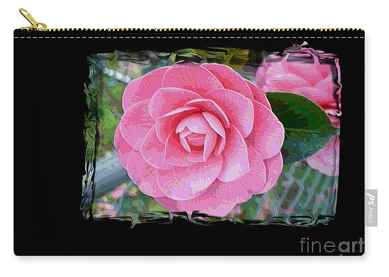 Pink Camelllias Carry-all Pouch featuring the photograph Pink Camellias With Fence And Framing by Carol Groenen