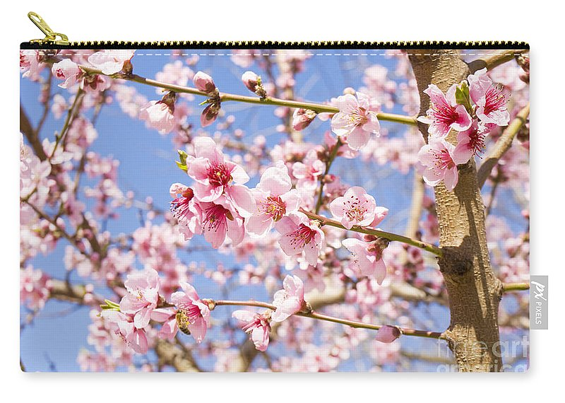 Pink Carry-all Pouch featuring the photograph Peach Flowers by Irina Afonskaya