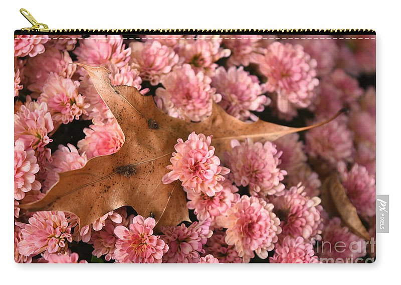 Chrysanthemum Carry-all Pouch featuring the photograph Pink Chrysanthemums With Pin Oak Leaf by Rowena Throckmorton