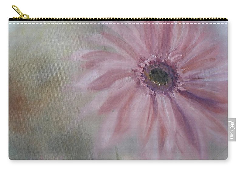 Pink Carry-all Pouch featuring the painting Pink Daisies by Donna Tuten