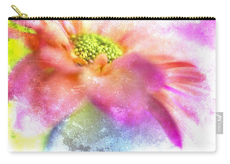 Daisy Carry-all Pouch featuring the photograph Pink Daisy on Blue by Carol Leigh