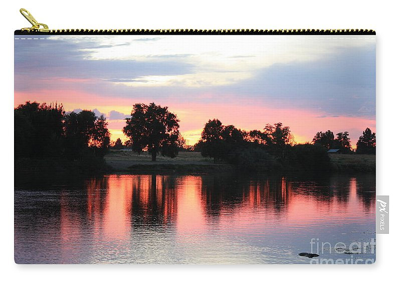 Sunset Carry-all Pouch featuring the photograph Pink Dusk Reflection by Carol Groenen