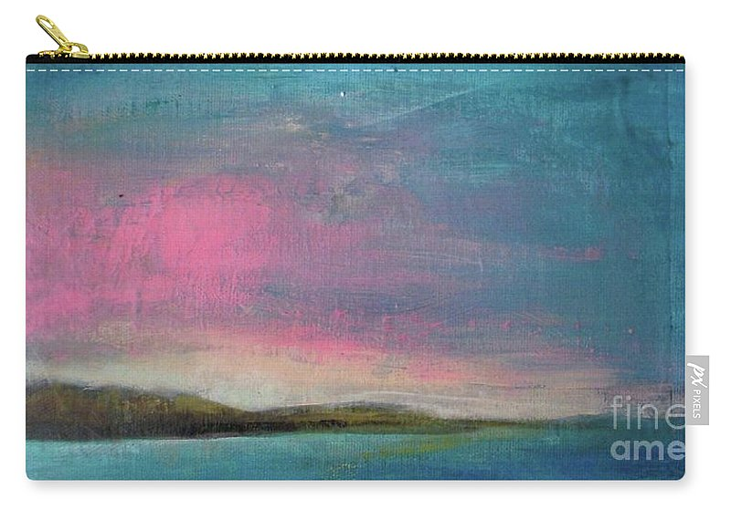 Beach Carry-all Pouch featuring the painting Pink Dusk by Vesna Antic