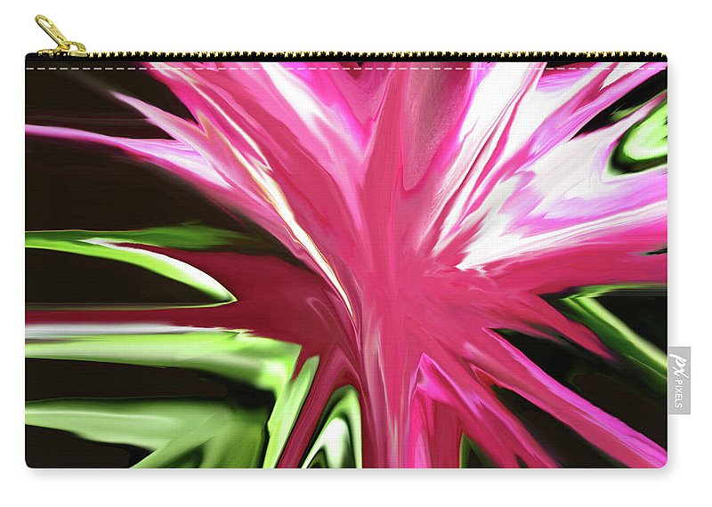 Pink Carry-all Pouch featuring the digital art Pink Explosion by Mary Bedy