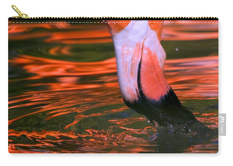 Flamingo Carry-all Pouch featuring the photograph Pink Flamingo by Randall Ingalls
