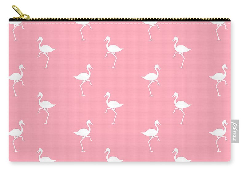 Flamingo Carry-all Pouch featuring the mixed media Pink Flamingos Pattern by Christina Rollo