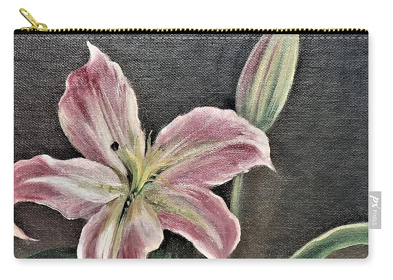Pink Carry-all Pouch featuring the painting Pink Flower by Suzn Art Memorial