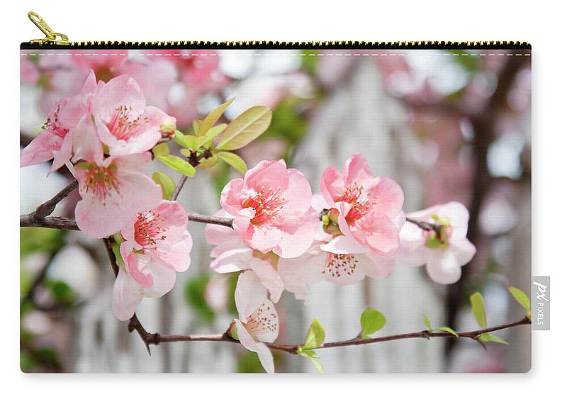 Flowers Carry-all Pouch featuring the photograph Pink Flowers And A White Picket Fence by Toni Hopper