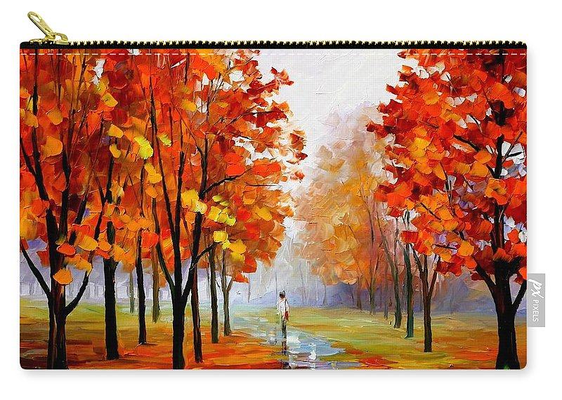 Afremov Carry-all Pouch featuring the painting Pink Fog by Leonid Afremov