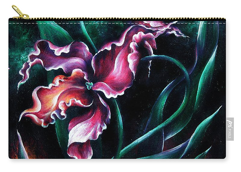 Pink Carry-all Pouch featuring the painting Pink Fuschia Orchid. Dance Of The Nature by Sofia Metal Queen