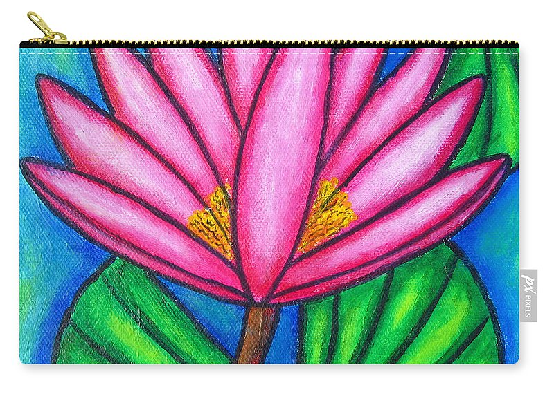 Water Lilies Carry-all Pouch featuring the painting Pink Gem 3 by Lisa Lorenz