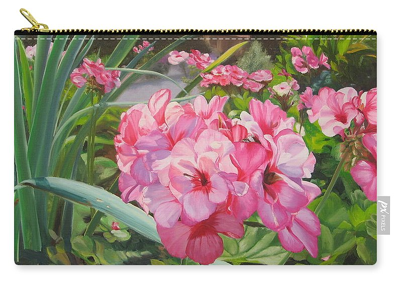 Pink Geraniums Carry-all Pouch featuring the painting Pink Geraniums by Lea Novak