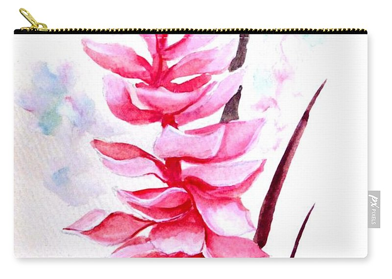 Pink Carry-all Pouch featuring the painting Pink Ginger Lily  2 by Karin Dawn Kelshall- Best