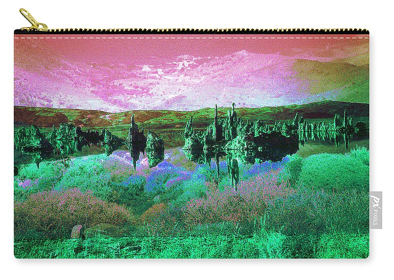 Landscape Carry-all Pouch featuring the photograph Pink Green Waterscape - Fantasy Artwork by Peter Potter