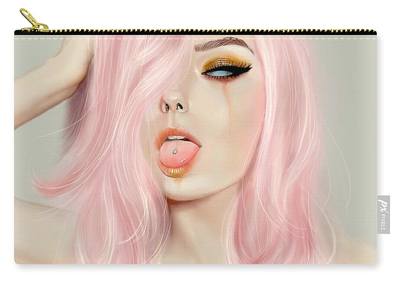 Papapeachy Carry-all Pouch featuring the digital art Pink Hair by Sali Alalwani