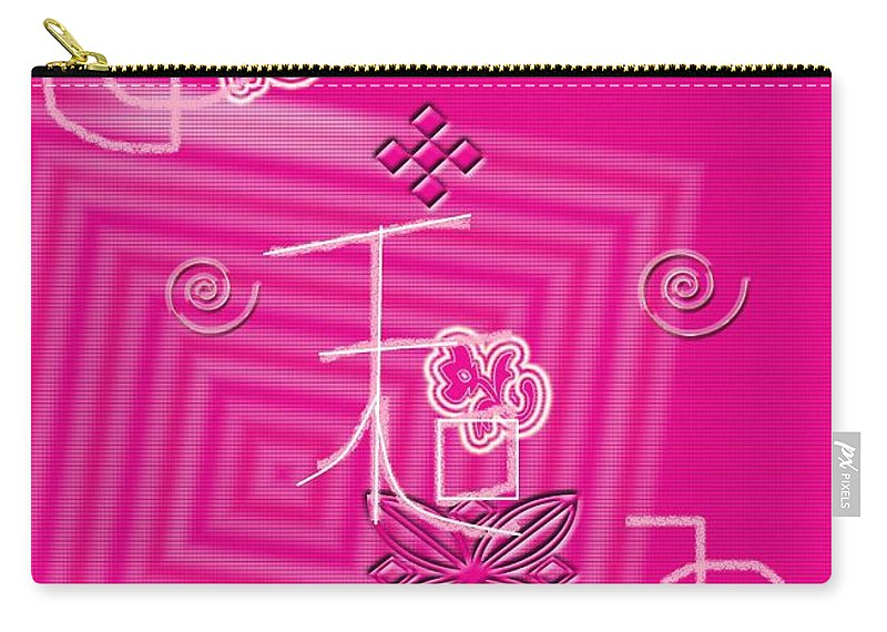Harmony Symbol Art Carry-all Pouch featuring the digital art Pink Happiness by Rizwana A Mundewadi