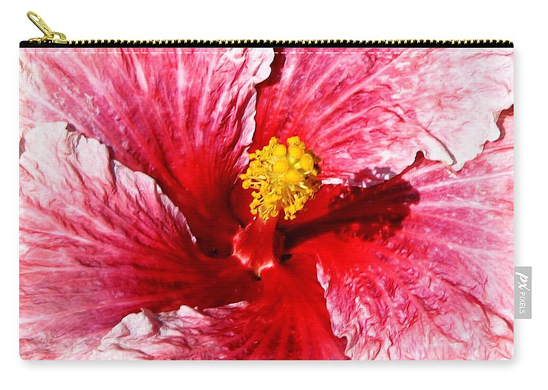 Flower Carry-all Pouch featuring the photograph Pink Hibiscus Inspired By Georgia O'keefe by Anthony Jones