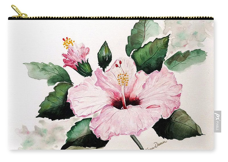 Hibiscus Painting  Floral Painting Flower Pink Hibiscus Tropical Bloom Caribbean Painting Carry-all Pouch featuring the painting Pink Hibiscus by Karin Dawn Kelshall- Best