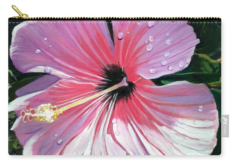 Pink Carry-all Pouch featuring the painting Pink Hibiscus With Raindrops by Marionette Taboniar