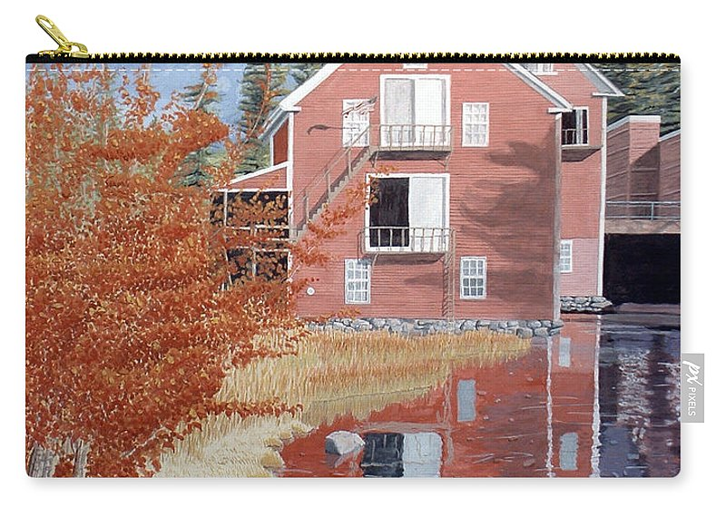 Autumn Carry-all Pouch featuring the painting Pink House in Autumn by Dominic White