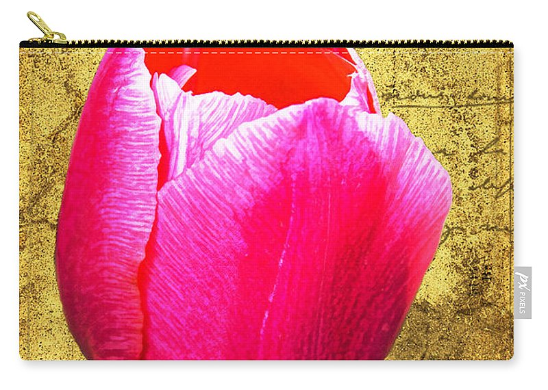 Pink Carry-all Pouch featuring the digital art Pink Impression Tulip by Teresa Mucha