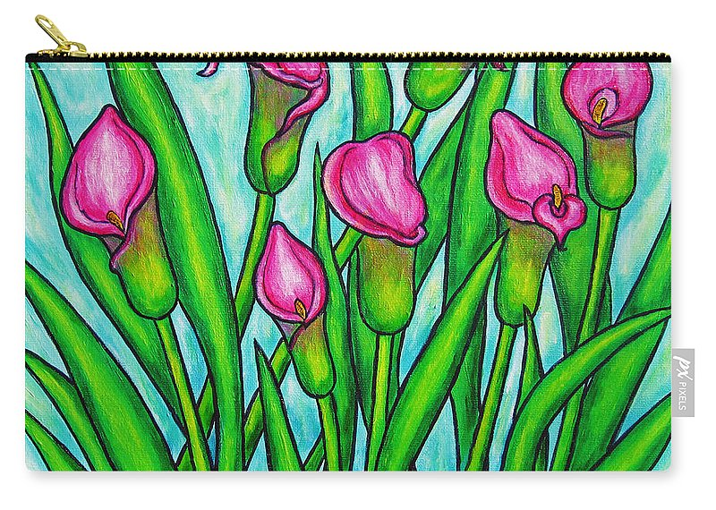 Lisa Lorenz Carry-all Pouch featuring the painting Pink Ladies by Lisa Lorenz