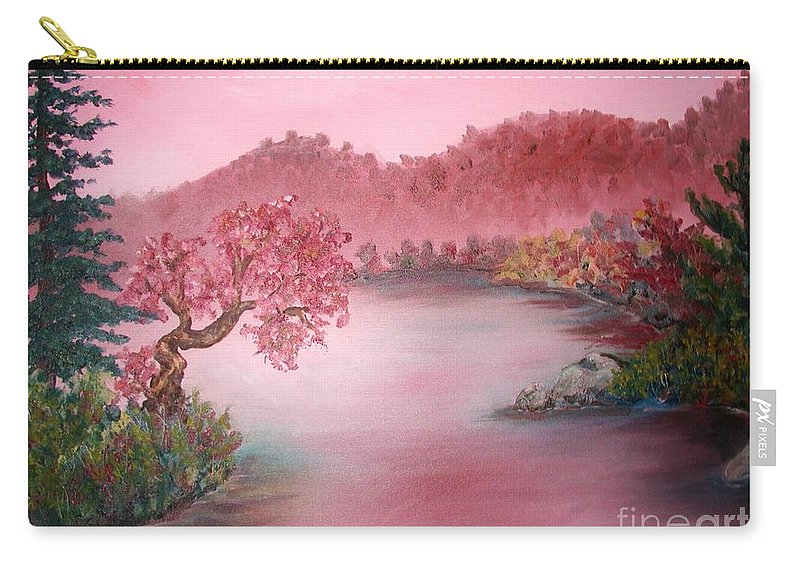 Lake Carry-all Pouch featuring the painting Pink Lake by Emily Michaud