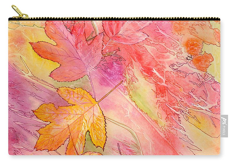 Tree Leaves Carry-all Pouch featuring the painting Pink Leaves by Nancy Cupp