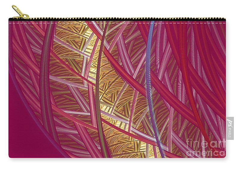 Fractal Carry-all Pouch featuring the mixed media Pink Lines by Deborah Benoit