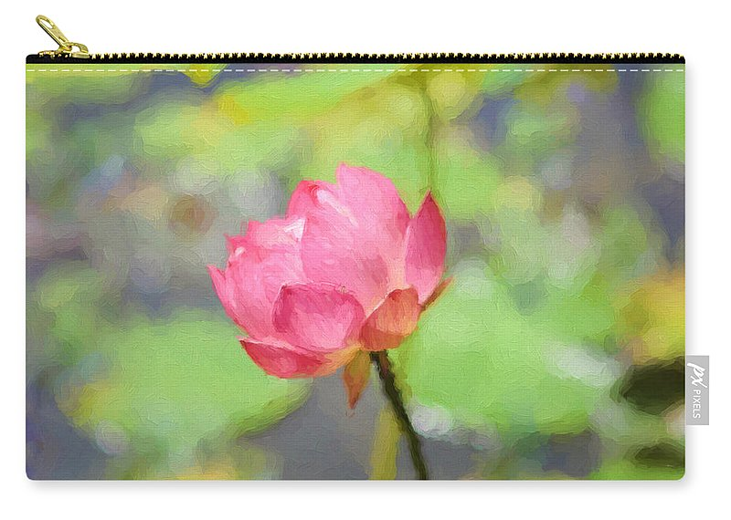 Pink Lotus Carry-all Pouch featuring the painting Pink Lotus by Ilze Lucero