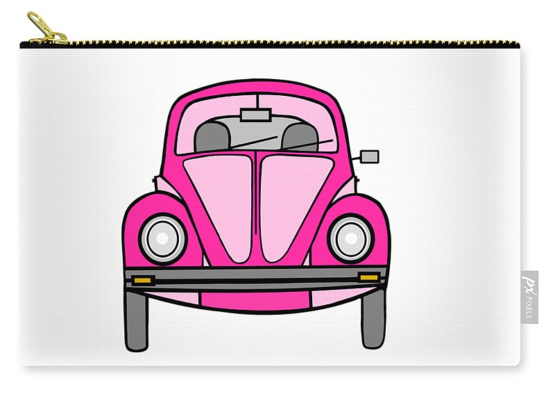 Pink Car Wall Art Carry-all Pouch featuring the digital art Pink On Wheels by Kathleen Sartoris