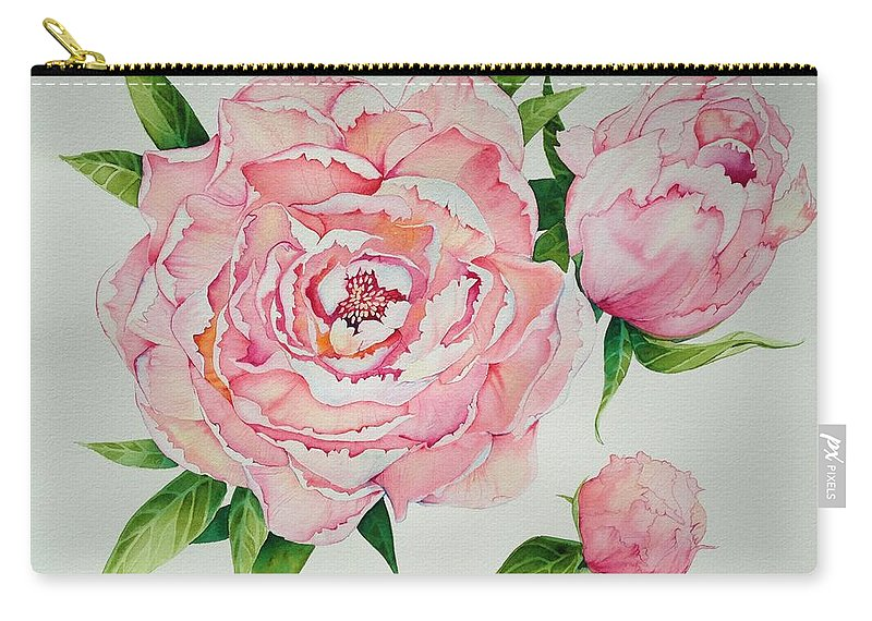 Peonies Carry-all Pouch featuring the painting Pink Peonies by Jill May