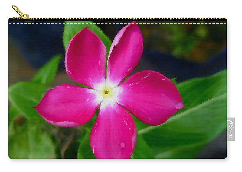 Pink Periwinkle Flower Carry-all Pouch featuring the painting Pink Periwinkle Flower 1 by Jeelan Clark