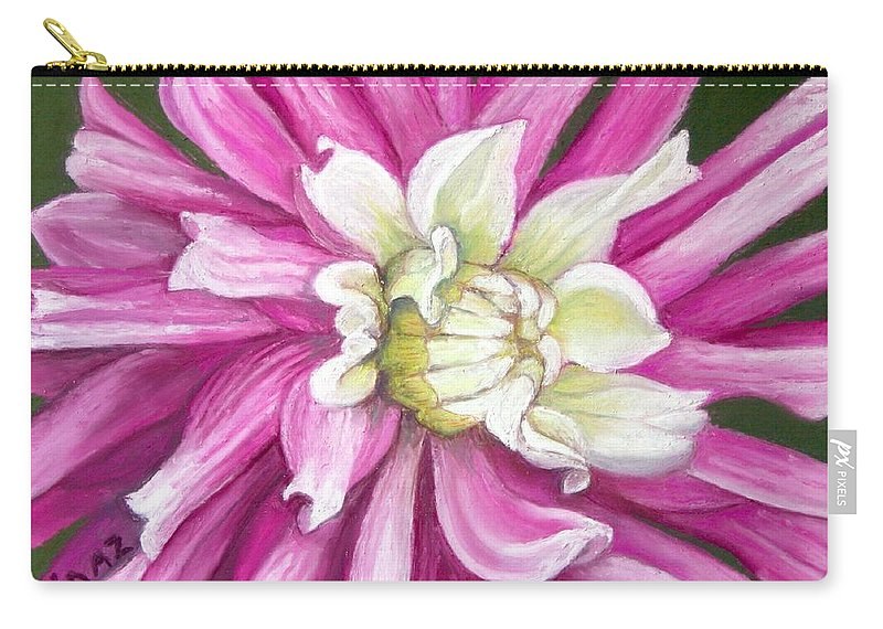 Floral Carry-all Pouch featuring the painting Pink Petal Blast by Minaz Jantz