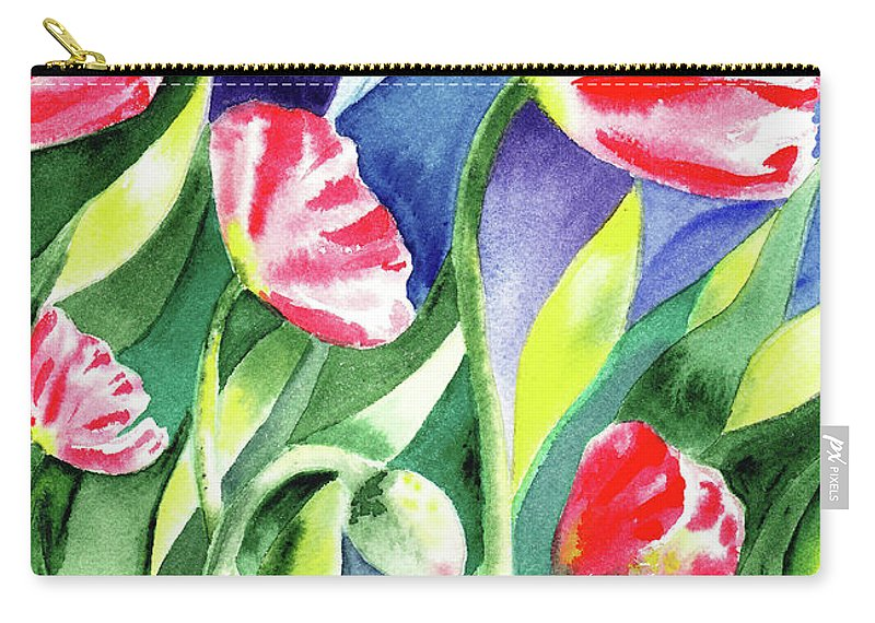 Poppy Carry-all Pouch featuring the painting Pink Poppies Batik Style by Irina Sztukowski