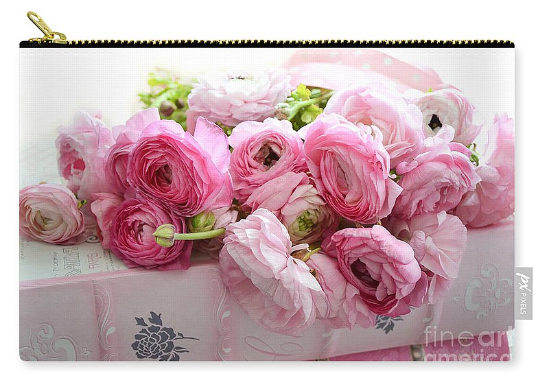 Ranunculus Carry-all Pouch featuring the photograph Pink Ranunculus Peonies Roses Print - Shabby Cottage Dreamy Pink Ranunculus Peony Roses Wall Decor by Kathy Fornal