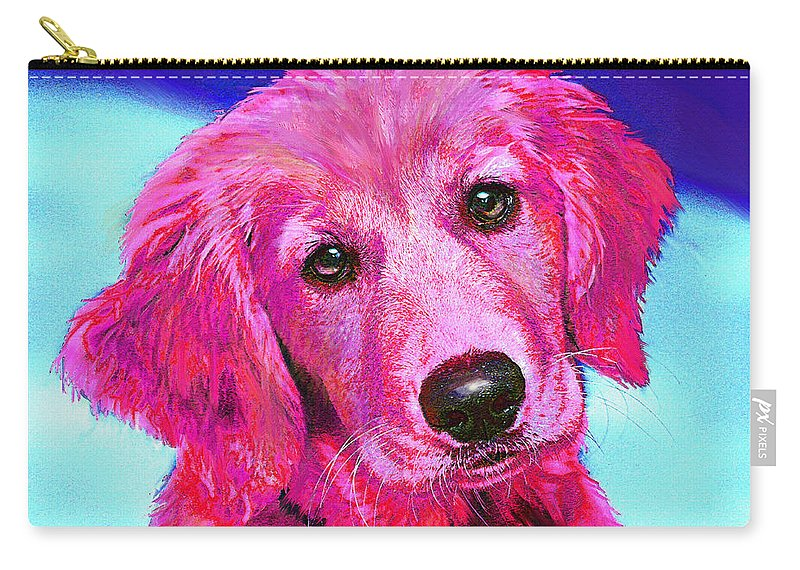 Retriever Carry-all Pouch featuring the digital art Pink Retriever by Jane Schnetlage