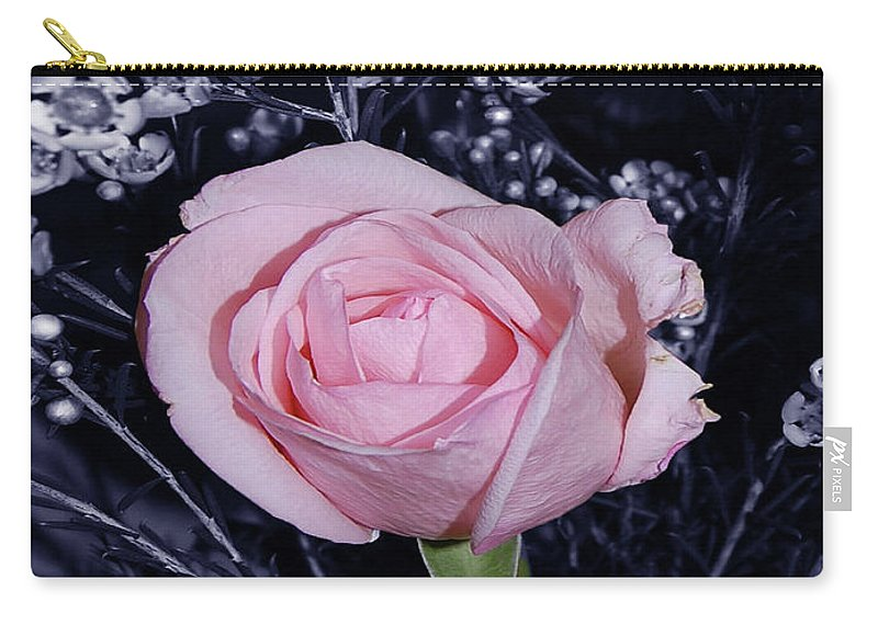 Rose Carry-all Pouch featuring the digital art Pink Rose Of Imperfection by DigiArt Diaries by Vicky B Fuller