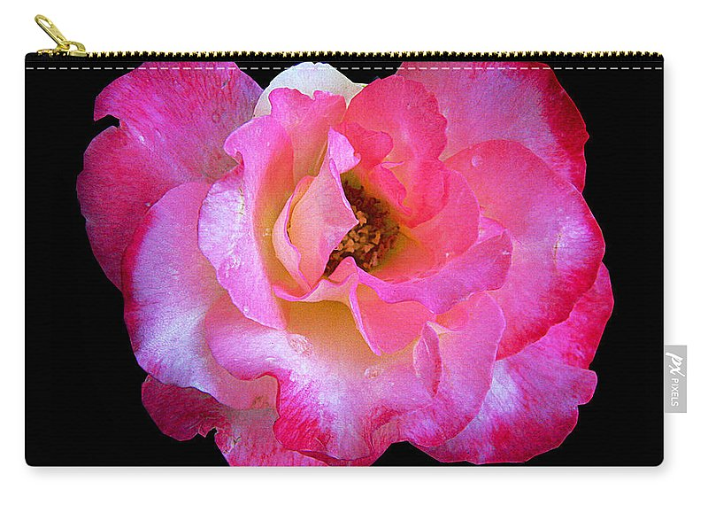 Rose Carry-all Pouch featuring the photograph Pink Rose On Black 3 by J M Farris Photography